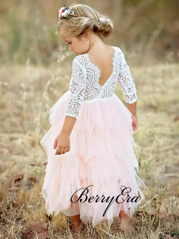 Long Sleeves Lovely Tulle Lace Flower Girl Dresses