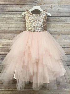 Sequin Top A-line Tulle Flower Girl Dresses