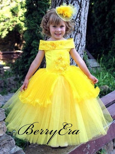 Off Shoulder A-Line Yellow Satin Appliques Tulle Flower Girl Dresses