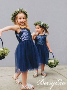 Sleeveless Cute Navy Seuqin Tulle Flower Girl Dresses