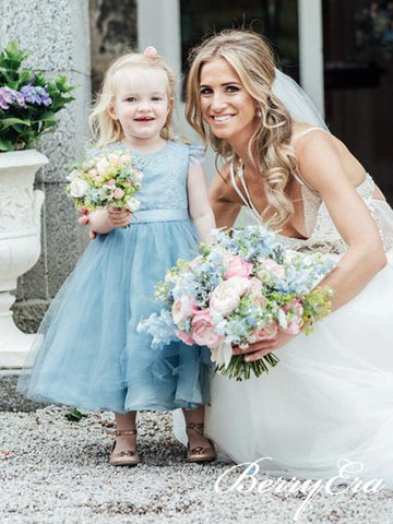 Cap Sleeves Blue Tulle Lace Flower Girl Dresses