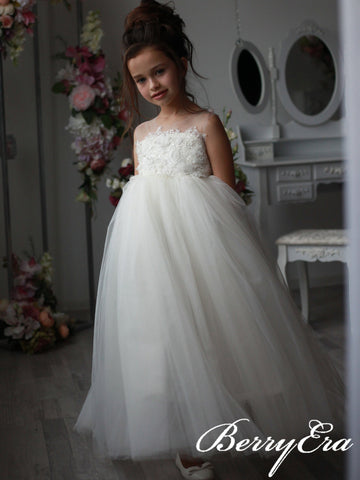 Illusion Lace Top Beaded Tulle Ivory Flower Girl Dresses