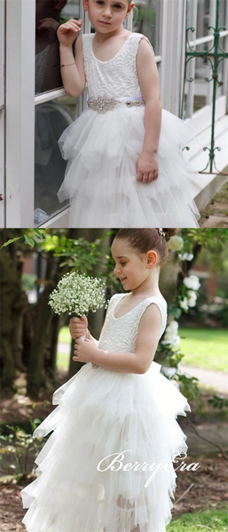 Round Neck Long Ivory Tulle Flower Girl Dresses, Lovely Little Girl Dresses, Flower Girl Dresses