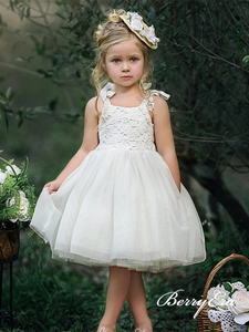 Lovely Lace Top Tulle Ivory Flower Girl Dresses