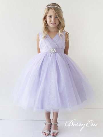 V-neck Tulle Sequin Flower Girl Dresses