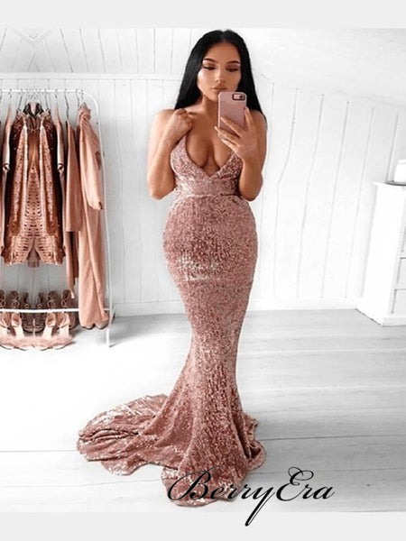 Sequins Deep V-neck Sexy Prom Dresses, Mermaid Cheap Prom Dresses