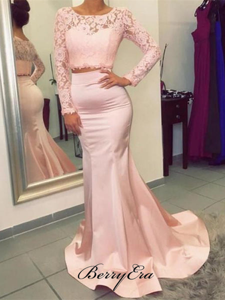 Lace Long Sleeves Formal Prom Dresses, Mermaid Satin Prom Dresses