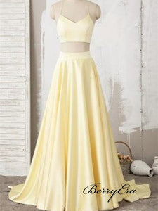 Two Pieces Satin Prom Dresses, Simple Design Prom Dresses, A-line Prom Dresses