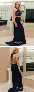 Two Pieces Lace Mermaid Long Prom Dresses, Party Homecoming Dresses