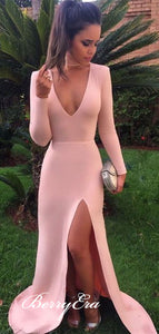Long Sleeves Deep V-neck Sexy Jersey Prom Dresses,Slit Prom Dresses