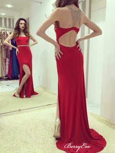 Slit Mermaid Long Prom Dresses, Beaded Homecoming Dresses