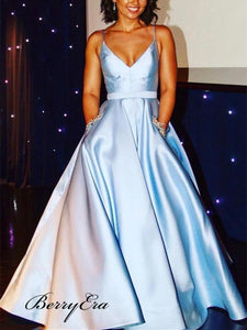 Simple A-line V-neck Stain Prom Dresses, Blue Beaded Prom Dresses With Pocket