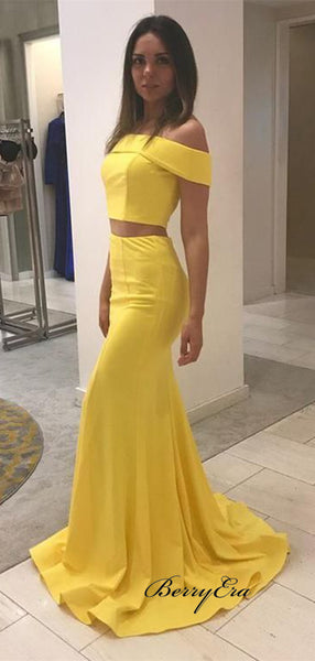 Two Pieces Off The Shoulder Prom Dresses, Yellow Popular Prom Dresses 2019