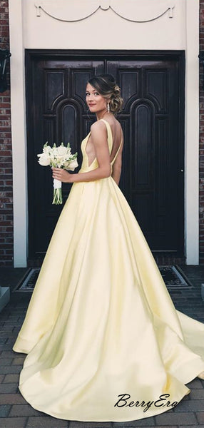 V-neck A-line Bright Yellow Color Prom Dresses, Satin Prom Dresses, Cheap Prom Dress
