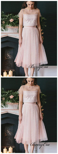 Two Pieces Pink Homecoming Dresses, Beaded Short Prom Dresses