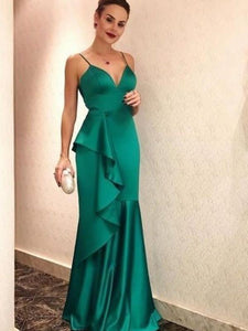 Elegant Long Mermaid Green Soft Satin Prom Dresses