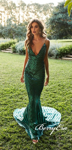 Green Sequin Tulle Long Prom Dresses, Backless Mermaid Prom Dresses, Long Prom Dresses