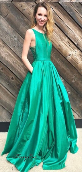 Simple Long A-Line Green Satin Prom Dresses Cheap Prom Dresses