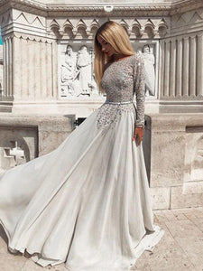Long Sleeves Gray Beaded A-line Chiffon Prom Dresses