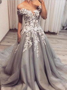 Off Shoulder Long A-line Grey Tulle Lace Prom Dresses