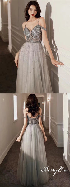 Spaghetti Long A-line Grey Beaded Tulle Long Prom Dresses, Popular Prom Dresses