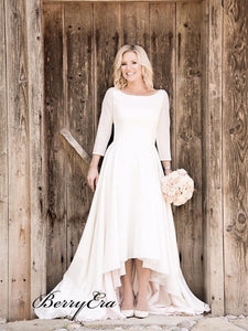 High Low Casual Wedding Dresses with 3/4 Sleeves, Simple Design Wedding Dresses