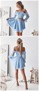 Long Sleeves Short Prom Dresses, Off The Shoulder Homecoming Dresses