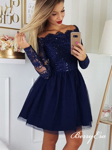 Off Shoulder Navy Lace Beaded Tulle Homecoming Dresses, Short Prom Dresses