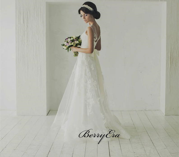 Elegant Sleeveless Lace Tulle Wedding With Beaded Belt