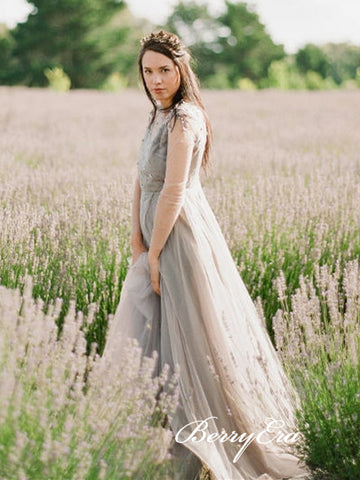 Long Sleeves Lace Beaded Wedding Dresses, Country Wedding Dresses, Long Bridal Gown