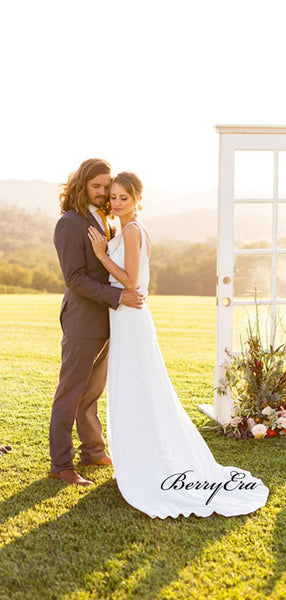 Newest Open Back Wedding Dresses, Simple Chiffon Country Wedding Dresses
