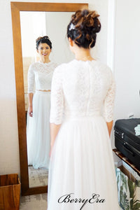 Lace Top Wedding Dresses, Long Sleeves Wedding Dresses, 2 Pieces Wedding Dresses