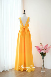 Sleeveless Bright Yellow Long Bridesmaid Dresses