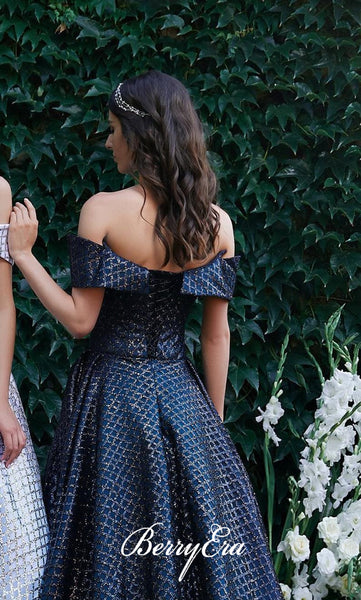 Off Shoulder Special Sequin Tulle A-line Prom Prom Dresses