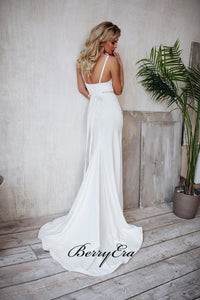 Spaghetti Straps Wedding Dresses, Beaded Simple Wedding Dresses, Mermaid Wedding Dresses