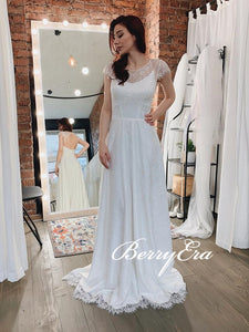 Cap Sleeves Ivory Lace Wedding Dresses, Open Back Long Wedding Dresses, A-line Wedding Dresses