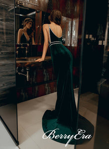 Straps Long Mermaid Emearld Green Prom Dresses, Velvet Long Mermaid Prom Dresses, Prom Dresses
