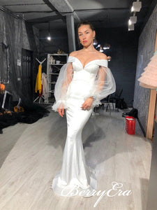 Off Shoulder Long Mermaid White Prom Dresses, Mermaid Elastic Satin Prom Dresses, Long Sleeves Prom Dresses, Prom Dresses