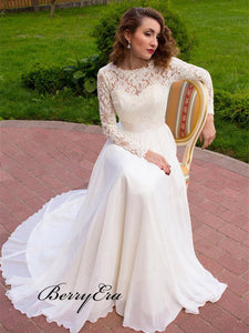 Lace Long Sleeves Wedding Dresses, A-line Chiffon Wedding Dresses, Bridal Gowns