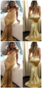 Backless Gold Mermaid Cheap Long Evening Sexy Prom Dresses
