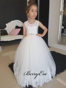 Round Neck Open Back A-line Ivory Flower Girl Dresses