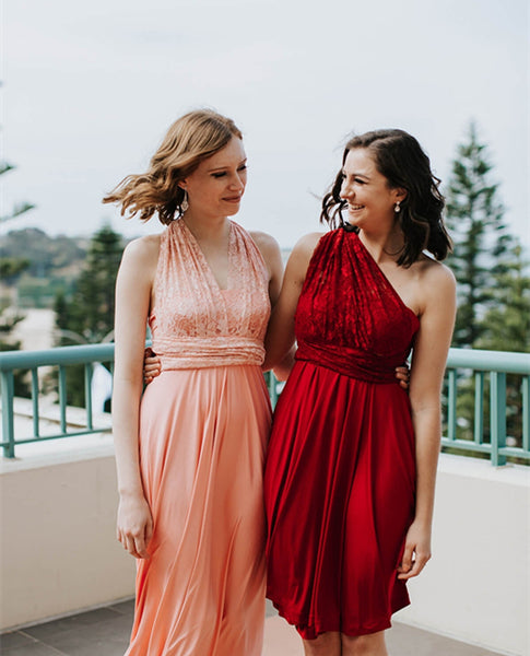 Convertible Lace Top Jersey Bridesmaid Dresses, Popular Bridesmaid Dresses