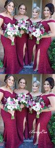 Off Shoulder Long Mermaid Lace Bridesmaid Dresses, Side Slit Bridesmaid Dresses