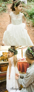 Sleeveless Lace V-back Cute Flower Girl Dresses