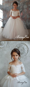 Off Shoulder A-line Lace Tulle Princess Flower Girl Dresses