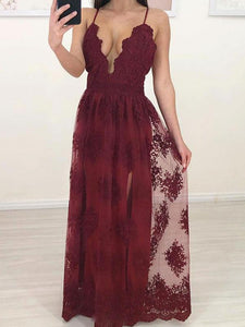 Spaghetti Long A-line Dark Red Lace Tulle Prom Dresses