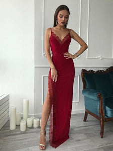 Spaghetti Long Sheath Side Slit Lace Jersey Prom Dresses