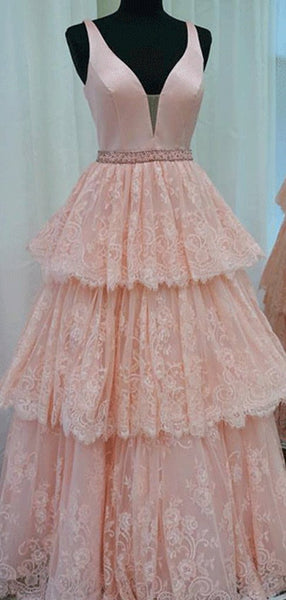 V-neck Lace Beaded Long A-line Pink Prom Dresses