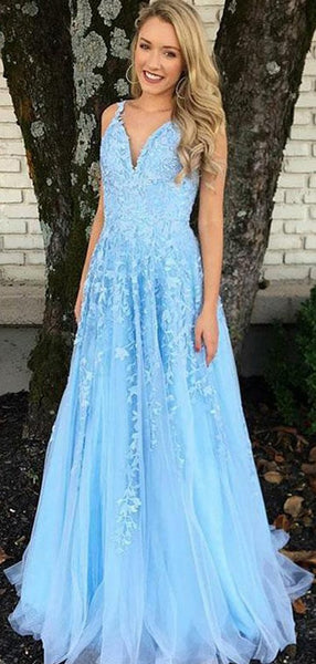 V-neck Blue Lace Tulle Long A-line Prom Dresses