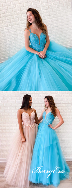 Lovely Lace Top Tulle Long Prom Dresses, Newest Prom Dresses, Popular Prom Dresses